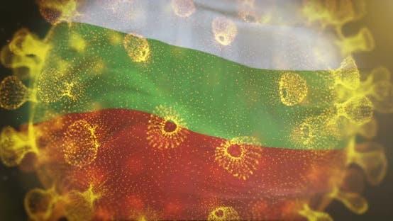 Bulgarian Flag With Coronavirus Microbe Centered 4K