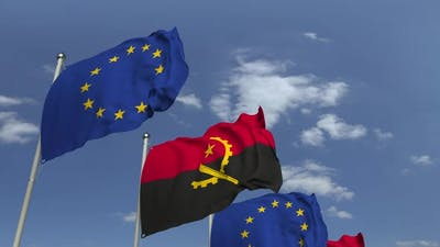 Waving Flags of Angola and the European Union