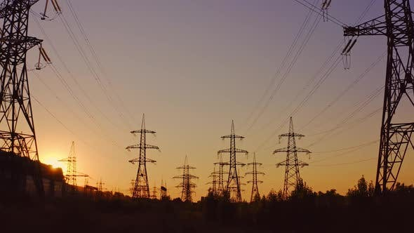 High voltage steel power pylons