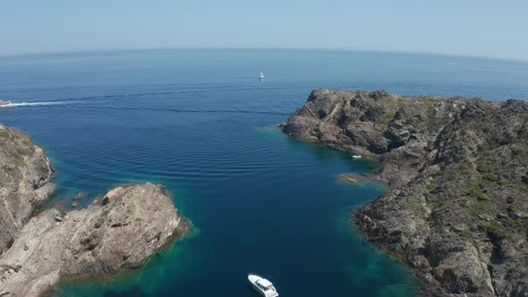 Thumbnail for Aerial Shot of Sailboat in Blue Mediterranean Sea