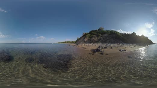 Thumbnail for 360 VR Sea and Rocky Hills on the Coastline at Trikorfo Beach, Greece