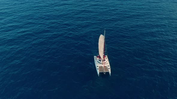 Thumbnail for Aerial View. Large Sailing Catamaran in the Open Sea
