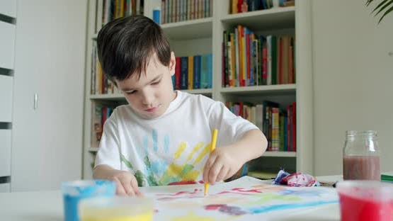 Child Drawing With Left Hand