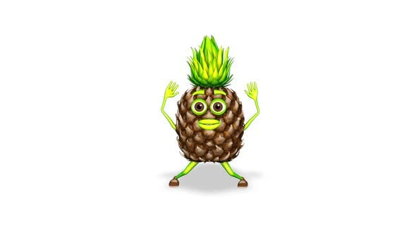Pineapple Jumping Loop On White Background