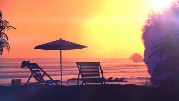 Tropical Resort Beach At Sunset 4K