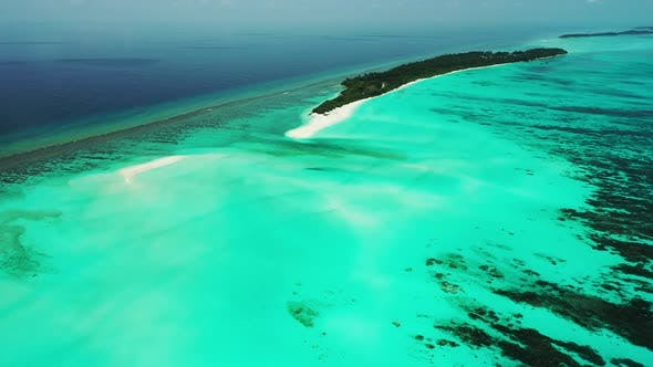 Thumbnail for Wide birds eye abstract view of a summer white paradise sand beach and aqua blue water background in