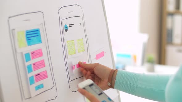 Thumbnail for Woman with Smartphone Working on Ui Design 29