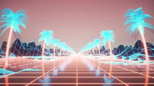 Camera Moves Along the Synthwave Wireframe Net