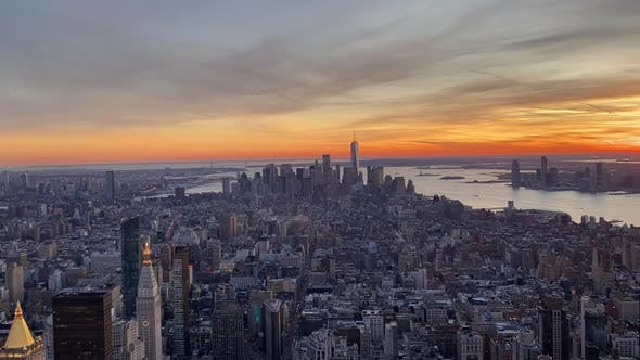 Thumbnail for View From Empire State Building Over the Downtown Manhattan at Sunset, Timelapse