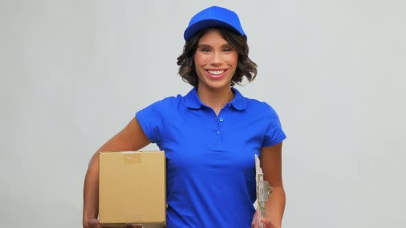 Happy Delivery Girl with Parcel Box and Clipboard