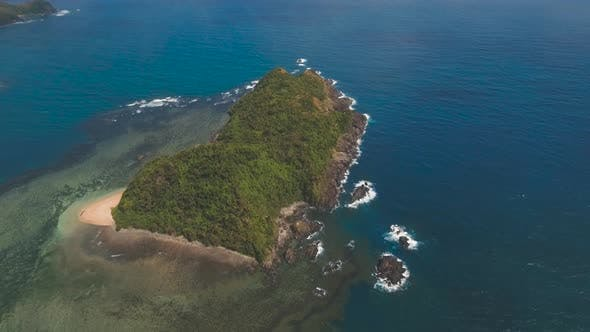 Cover Image for Seascape with Tropical Island, Rocks and Waves. Catanduanes, Philippines