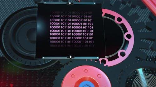 Binary code on the display screen inside the gear mechanism