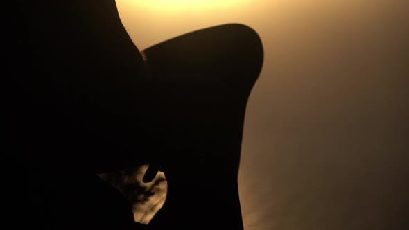 Thumbnail for Man Silhouetted Against Mountainside Watching Sunrise