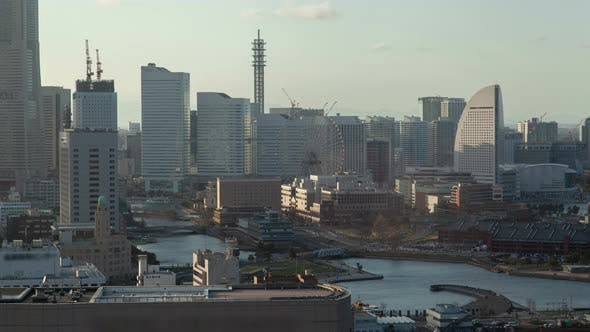 Day View Yokohama Cityscape Skyscrapers Timelapse