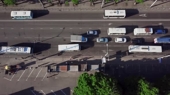 Thumbnail for Aerial View From a Drone of Cars Running on Street Road