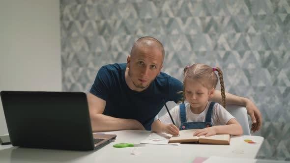 Dad Look Little Blond Daughter Doing Homework