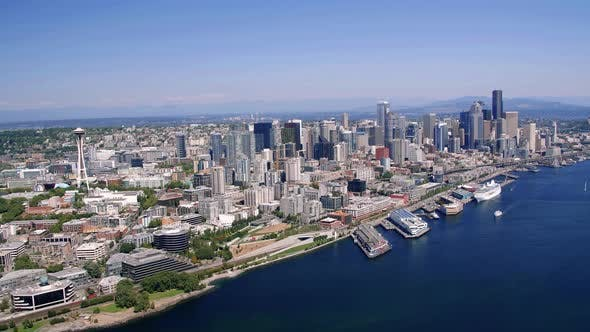 Thumbnail for Modern City Architecture In Seattle Waterfront Aerial