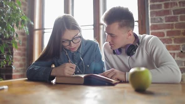 Zwei Studierende, die gemeinsam studieren und lernen