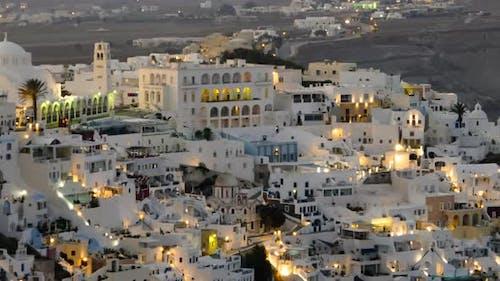 Night Hyperlapse of Fira Town, Santorini
