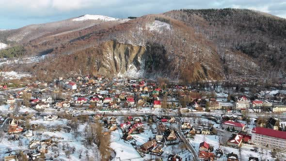 Thumbnail for Aerial View of a Village in the Carpathian Mountains in Winter. Yaremche, Ukraine.