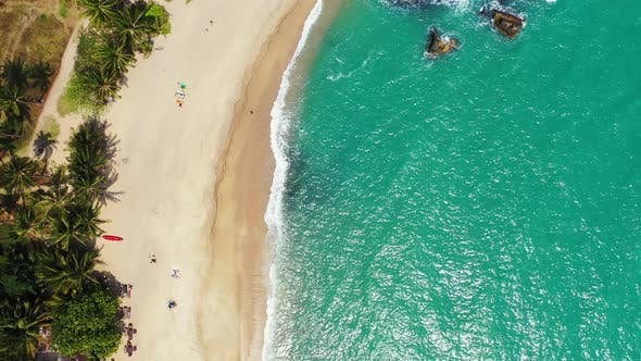 Thumbnail for Wide drone abstract view of a white sand paradise beach and blue sea background in high resolution