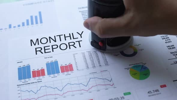 Thumbnail for Monthly Report Approved, Hand Stamping Seal on Official Document, Statistics