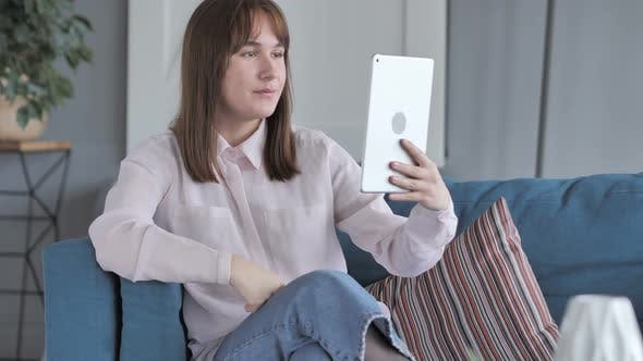 Thumbnail for Video Chat on Tablet By Relax Young Woman