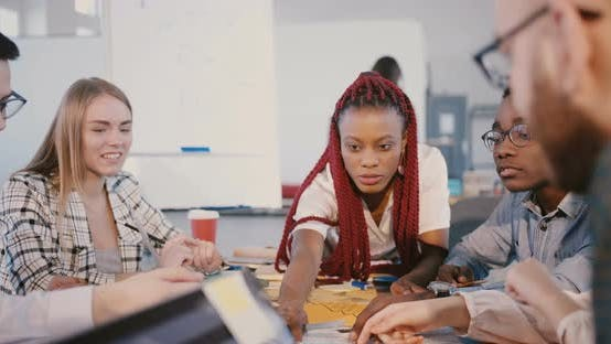 Thumbnail for Multiethnic Teamwork at Healthy Workplace. Experienced Young Black Female Leader Works Together
