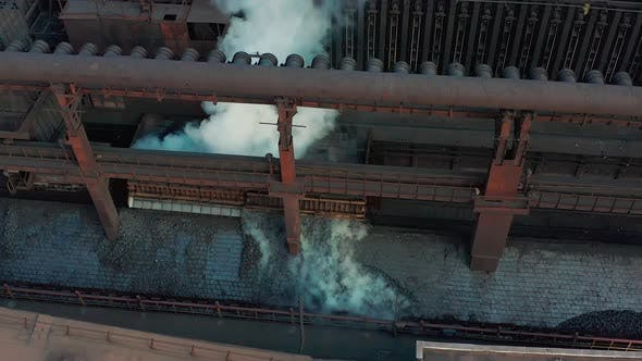 Thumbnail for Aerial View. Coal Move on Conveyor in Modern Processing Plant.