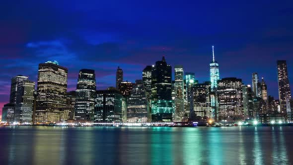 Thumbnail for Lights of the Skyscrapers are Lighting Up on Manhattan