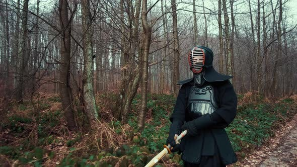 Thumbnail for Concentrated Man with a Japanese Sword, a Katana Practicing Iaido in a Pine Forest, Wide Angle