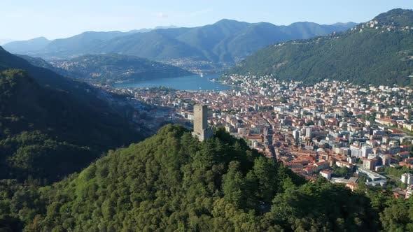 Baradello Castle Como City Lake Aerial View