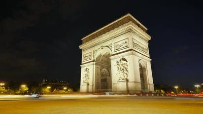 Arch of Triumph of Paris in the Champs Elysees at Night
