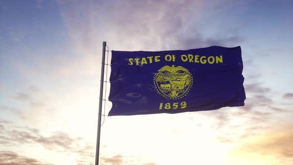 State Flag of Oregon Waving in the Wind