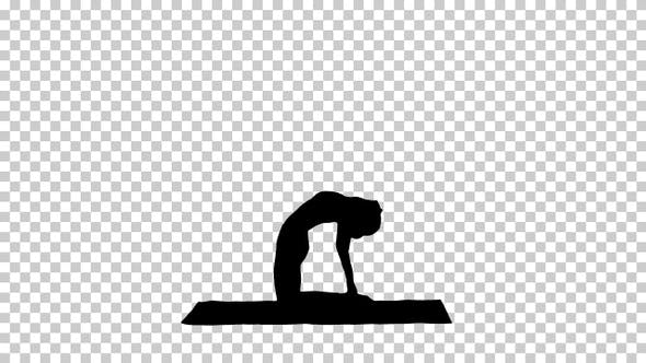 Silhouette Sporty woman practicing yoga, Alpha Channel