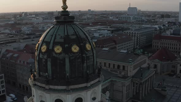 AERIAL: Close Up Drone View of Cathedral Tower Roof in Berlin, Germany at Sunset