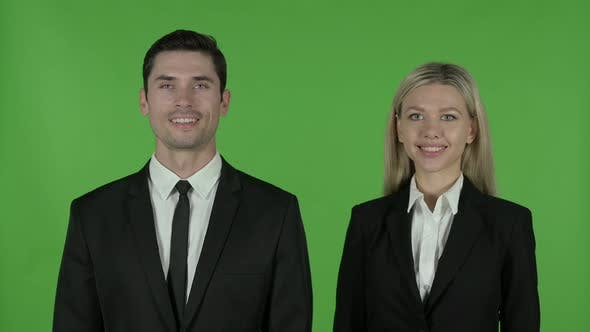 Thumbnail for Cheerful Business People Smiling at Camera, Chroma Key