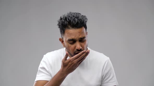 Unhealthy Indian Man Coughing 31