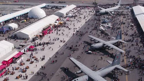 Aviation Festival Field With Crowd And Old Military Aircrafts 4