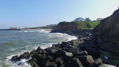 Coastline and town