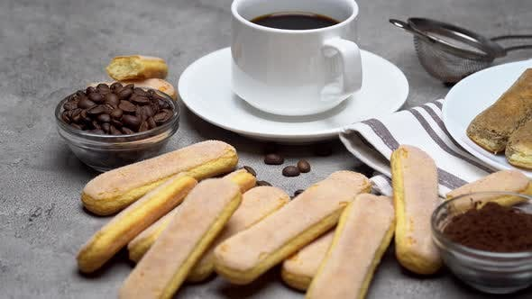 Thumbnail for Tiramisu Cake Cooking - Italian Savoiardi Ladyfingers Biscuits and Coffee