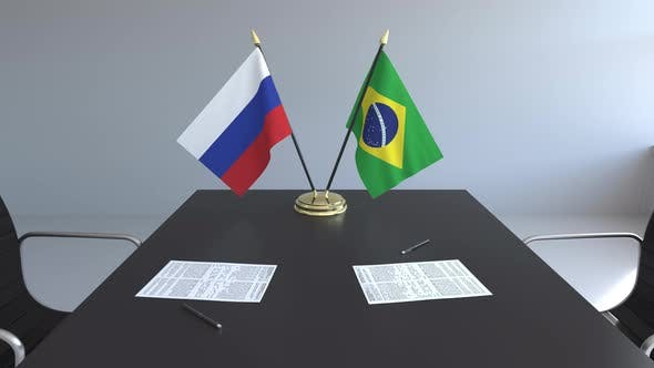 Thumbnail for Flags of Russia and Brazil on the Table