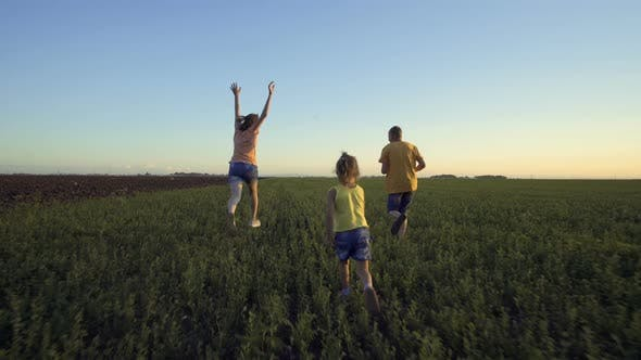 Thumbnail for Children Playing In The Summer Field With Grass And Blue Sky