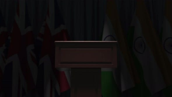 Flags of India and the United Kingdom and Speaker Tribune