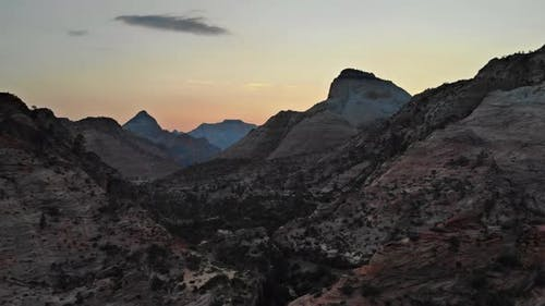 Sunset Panorama on Zion National Park Landscape Southwest US