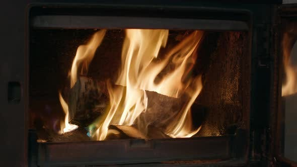 Thumbnail for +Сlose Up Fire with Burning Wood Indoors, Forks of Flame in Fireplace at Home