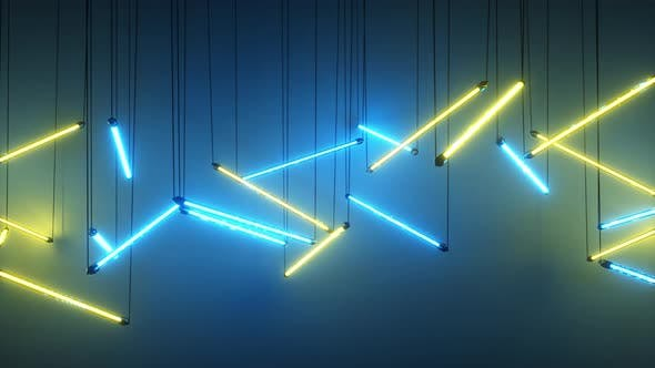 Thumbnail for Blue and Yellow Neon Fluorescent Lights