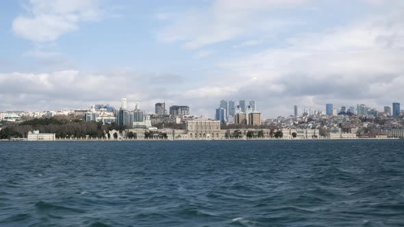 Dolmabahce Palace in Istanbul City View From Sailing Ship Along Bosphorus Strait