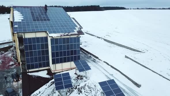 Thumbnail for Aerial Solar Farm in Winter