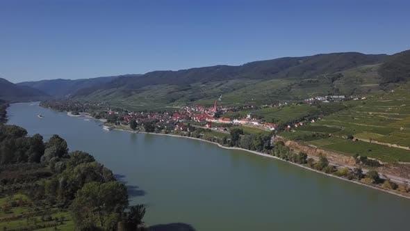 Aerial of Weisenkirchen, Wachau Valley, Austria.